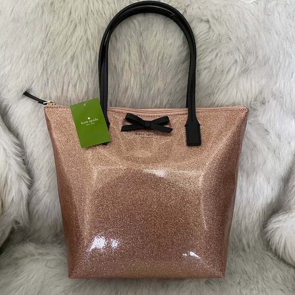 kate spade Handbags - Kate Spade Rose Gold Sparkly Tote